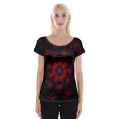 Fractal Abstract Blossom Bloom Red Women s Cap Sleeve Top