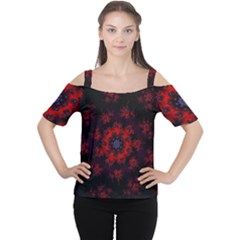 Fractal Abstract Blossom Bloom Red Women s Cutout Shoulder Tee