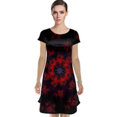 Fractal Abstract Blossom Bloom Red Cap Sleeve Nightdress
