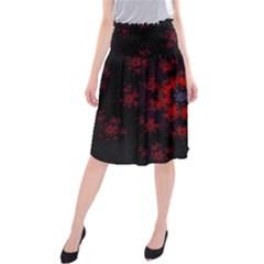 Fractal Abstract Blossom Bloom Red Midi Beach Skirt