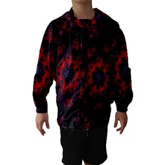 Fractal Abstract Blossom Bloom Red Hooded Wind Breaker (Kids)