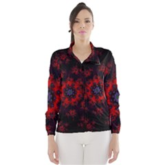 Fractal Abstract Blossom Bloom Red Wind Breaker (Women)