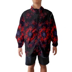 Fractal Abstract Blossom Bloom Red Wind Breaker (kids)