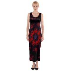 Fractal Abstract Blossom Bloom Red Fitted Maxi Dress