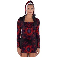 Fractal Abstract Blossom Bloom Red Women s Long Sleeve Hooded T Shirt