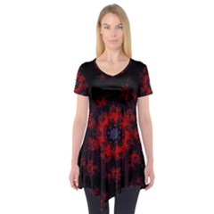 Fractal Abstract Blossom Bloom Red Short Sleeve Tunic