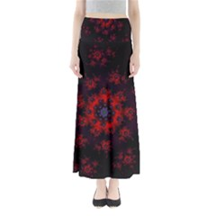 Fractal Abstract Blossom Bloom Red Maxi Skirts
