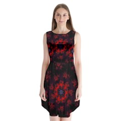 Fractal Abstract Blossom Bloom Red Sleeveless Chiffon Dress