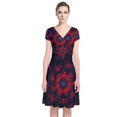 Fractal Abstract Blossom Bloom Red Short Sleeve Front Wrap Dress