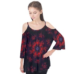 Fractal Abstract Blossom Bloom Red Flutter Tees
