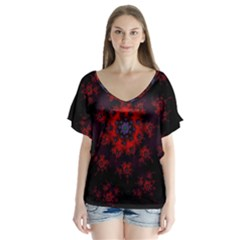 Fractal Abstract Blossom Bloom Red Flutter Sleeve Top