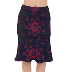 Fractal Abstract Blossom Bloom Red Mermaid Skirt