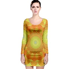 Sunshine Sunny Sun Abstract Yellow Long Sleeve Bodycon Dress