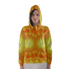 Sunshine Sunny Sun Abstract Yellow Hooded Wind Breaker (Women)