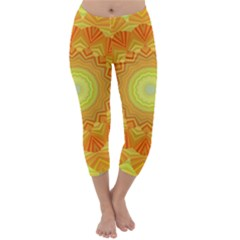 Sunshine Sunny Sun Abstract Yellow Capri Winter Leggings