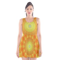 Sunshine Sunny Sun Abstract Yellow Scoop Neck Skater Dress