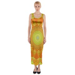 Sunshine Sunny Sun Abstract Yellow Fitted Maxi Dress