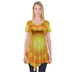Sunshine Sunny Sun Abstract Yellow Short Sleeve Tunic