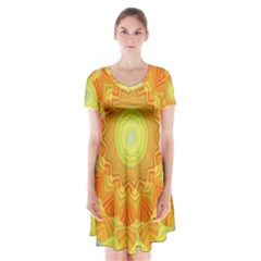 Sunshine Sunny Sun Abstract Yellow Short Sleeve V Neck Flare Dress