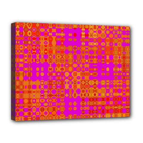 Pink Orange Bright Abstract Canvas 14  x 11