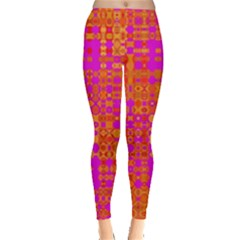 Pink Orange Bright Abstract Leggings
