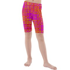 Pink Orange Bright Abstract Kids  Mid Length Swim Shorts