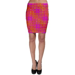 Pink Orange Bright Abstract Bodycon Skirt