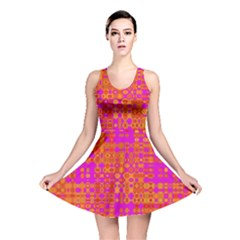 Pink Orange Bright Abstract Reversible Skater Dress