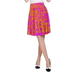 Pink Orange Bright Abstract A Line Skirt