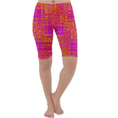 Pink Orange Bright Abstract Cropped Leggings