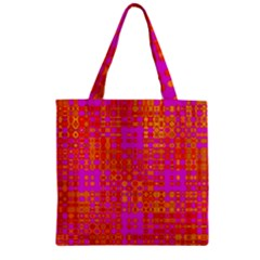 Pink Orange Bright Abstract Zipper Grocery Tote Bag