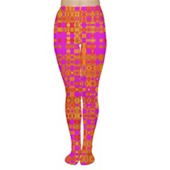 Pink Orange Bright Abstract Women s Tights
