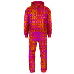Pink Orange Bright Abstract Hooded Jumpsuit (Men)