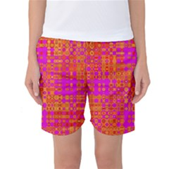 Pink Orange Bright Abstract Women s Basketball Shorts