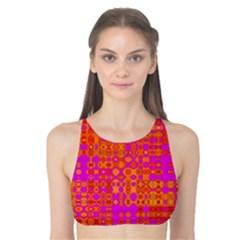 Pink Orange Bright Abstract Tank Bikini Top