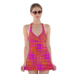 Pink Orange Bright Abstract Halter Swimsuit Dress