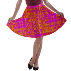 Pink Orange Bright Abstract A-line Skater Skirt