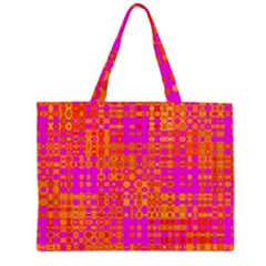 Pink Orange Bright Abstract Large Tote Bag