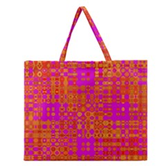 Pink Orange Bright Abstract Zipper Large Tote Bag