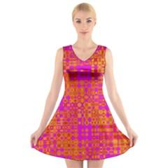 Pink Orange Bright Abstract V Neck Sleeveless Skater Dress