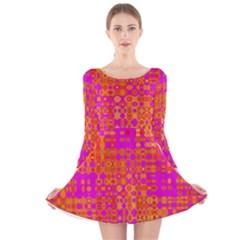Pink Orange Bright Abstract Long Sleeve Velvet Skater Dress