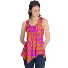 Pink Orange Bright Abstract Sleeveless Tunic