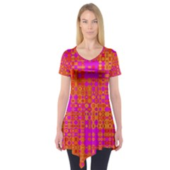 Pink Orange Bright Abstract Short Sleeve Tunic