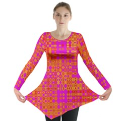 Pink Orange Bright Abstract Long Sleeve Tunic