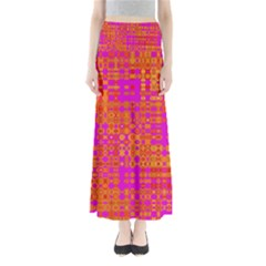 Pink Orange Bright Abstract Maxi Skirts