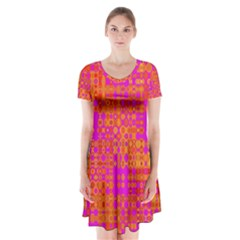 Pink Orange Bright Abstract Short Sleeve V Neck Flare Dress