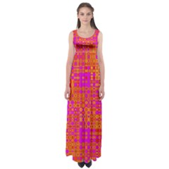 Pink Orange Bright Abstract Empire Waist Maxi Dress