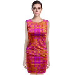Pink Orange Bright Abstract Classic Sleeveless Midi Dress