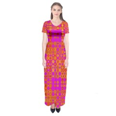 Pink Orange Bright Abstract Short Sleeve Maxi Dress