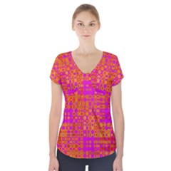 Pink Orange Bright Abstract Short Sleeve Front Detail Top